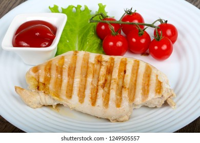 Grilled chicken breast with sauce bbq