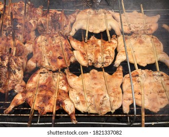 Grilled chicken cooked on bbq grid