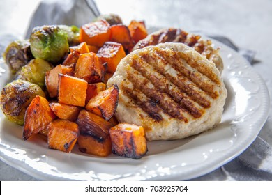 Grilled chicken cutlets, roasted sweet potato and brussel sprout