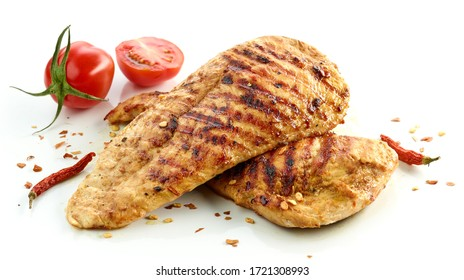 grilled chicken fillet meat isolated on white background