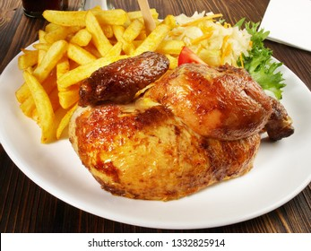Grilled Chicken with French Fries and Coleslaw Salad