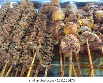 grilled chicken intestine and grilled young chicken egg with hot spices