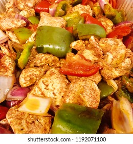 Grilled Chicken Kabob Meat with Roasted Red and Green Peppers and Onions Mediterranean Food Dish Top VIew