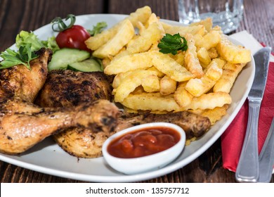 Grilled Chicken Legs with Chips and Sauce
