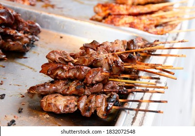 grilled chicken liver on sticks sold in the local market