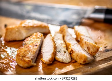Grilled chicken nuggets cut into strips