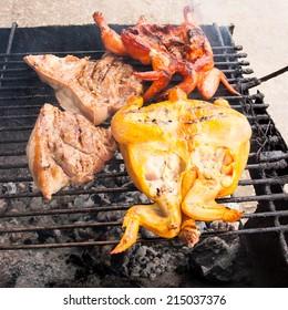 grilled chicken on gridiron