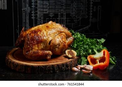 grilled chicken, grilled chicken on a spit on black background