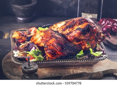 Grilled chicken on vintage metal tray rustic style