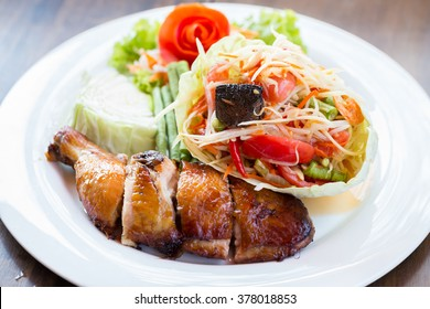 Grilled chicken and papaya salad, Thai food