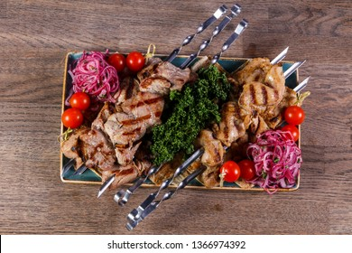 Grilled chicken and pork barbeque