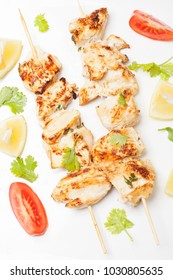 grilled chicken skewer with cilantro