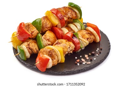 Grilled chicken skewers, roasted shish kebab BBQ, isolated on white background.