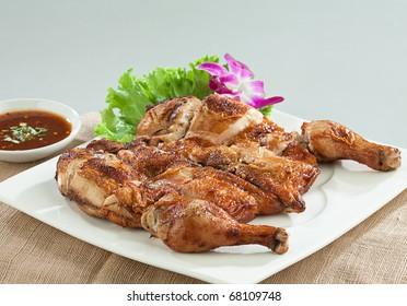 Grilled chicken Thai food style isolated