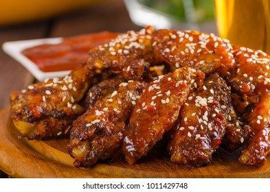 Grilled chicken wings with hot sauce. food photography, ready for advertisment