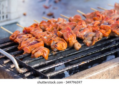 Grilled Chicken Wings, chicken liver as Thai style at street food in Thailand.
