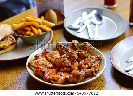 Grilled Chicken Wings Placed On Restaurants Stock Photo Edit Now