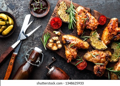 grilled chicken wings with vegetables, barbecue appetizer