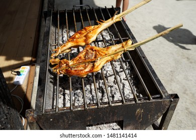 Grilled chicken in the wood