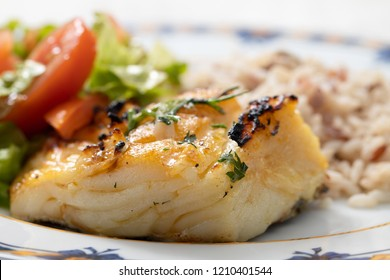 grilled cod fish with rice