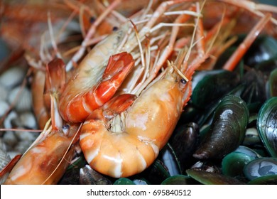 grilled cooked shrimp on the pile of baked mussel. the orange color of prawn caused by cooked.