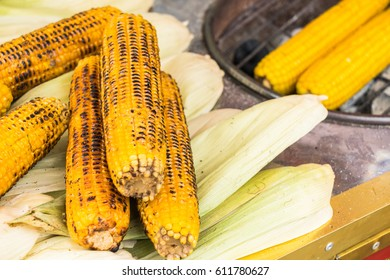 grilled corn on the hot stove.