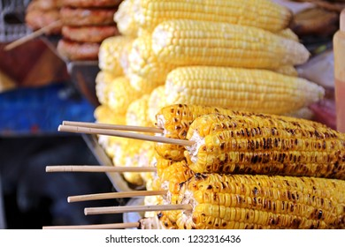 Grilled corns, famous asian street food especially in cool day.