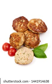 Grilled cutlets, fried meat balls, top view, isolated on white background.