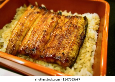 Grilled eels and bowl of eel. August 1, 2018, in Matsukawa Eel store. Shibuya. Tokyo. Japan. A long-established store in Shibuya, a big city famous for eel. The eel here uses natural eels.