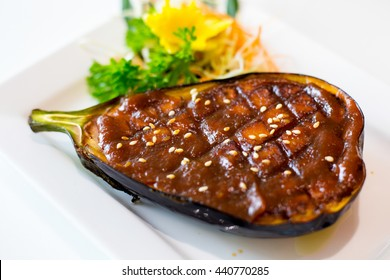 grilled eggplant with japanese miso sauce