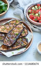 Grilled eggplant with Miso Glaze or nasu dengaku. Japanese food