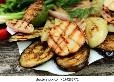 grilled eggplant, peppers, onions and garlic