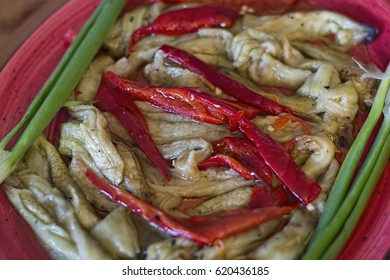 Grilled eggplant salad with red pepper and green onion. Traditional Greek Cuisine