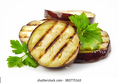 grilled eggplant slices and green parsley isolated on white background