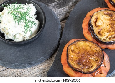 Grilled eggplant with tomatoes and cream cheese