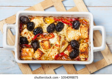 grilled feta in a casserole