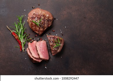 Grilled fillet steaks. Top view with space for your text