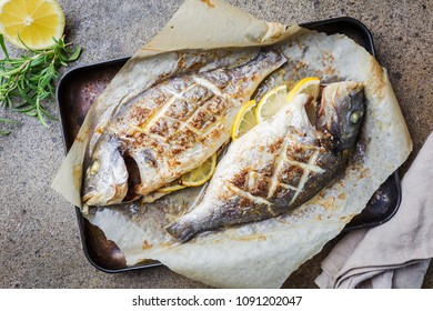 Grilled fish Dorado on paper with lemon and rosemary on gray background, top view