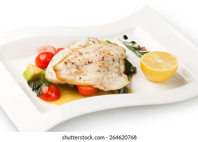 Grilled Fish Fillet on a white plate