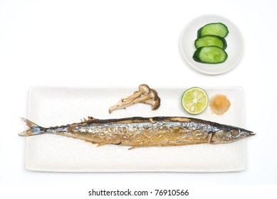 Grilled fish on the Plate with Pickle