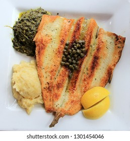 Grilled fish on the white plate