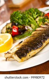 Grilled fish with grilled vegetables