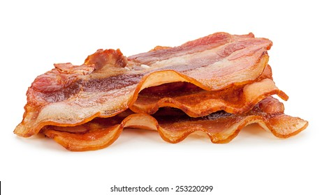 Grilled fresh bacon isolated on white background