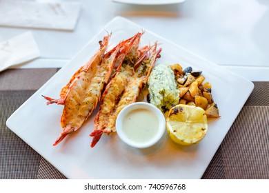 Grilled fresh big shrimp