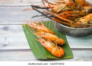 Grilled giant river prawn fresh .Eating shrimp may also promote heart and brain health due to its content of omega 3 fatty acids and the antioxidant astaxanthin.