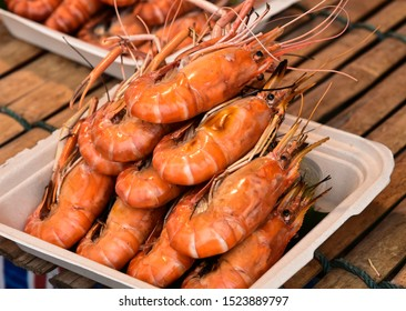 Grilled Giant river prawn or giant freshwater prawn for sale in the Thai  street food market