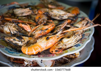 Grilled giant river prawns or giant freshwater prawns. Thailand food