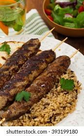 Grilled Ground Lamb Kebabs. Selective focus.