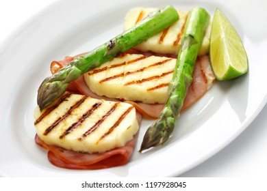 grilled halloumi cheese isolated on white background