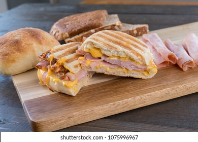 Grilled Ham and Cheese Panini Sandwich on Ciabatta Roll